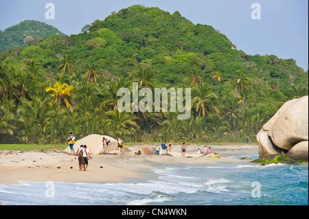 Colombia, Magdalena Department, Tayrona National Park (Parque Nacional Tayrona) founded in 1969, the beach of Arrecifes - Stock Photo