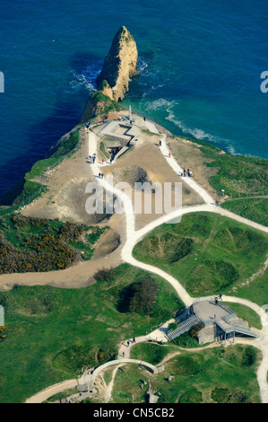 France, Calvados, Pointe du Hoc with bomb holes made by the Normandy landings of June 6 1944 during the Second World - Stock Photo