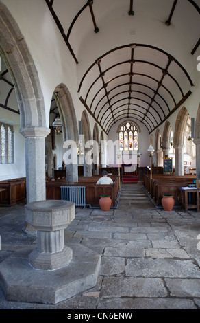 St Pancras church in Widecombe-in-the-moor, Dartmoor, England. - Stock Photo