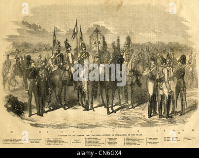 1854 engraving, Uniforms of the Russian Army Cavalry, Division of Cuirassiers of the Guard. - Stock Photo