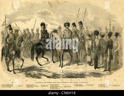 1854 engraving, Uniforms of the Russian Army, First Division of Light Cavalry of the Guard. - Stock Photo