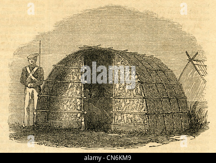 1854 engraving, Commanding Officers' Guard-house at Ruapekapeka with troops' barracks in background. - Stock Photo