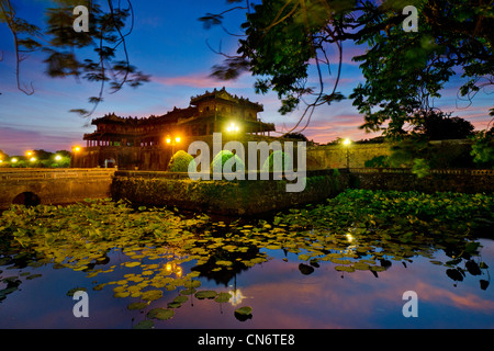 Entrance to the Imperial City at Twilight, Hue, Vietnam - Stock Photo
