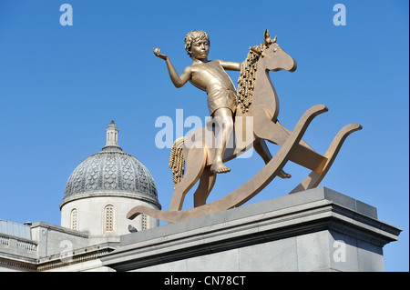The boy on a rocking horse on the fourth plinth Trafalgar Square London by Artists Michael Elmgreen and Ingar Dragset - Stock Photo