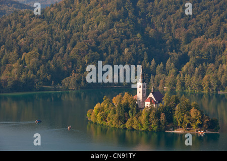 Slovenia, Gorenjska Region, Bled, the church of Assumption on the island of the lake Bled - Stock Photo