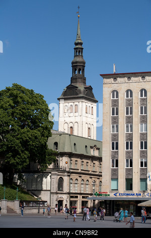 Estonia (Baltic States), Harju Region, Tallinn, belfry of the town hall from the Freedom Square - Stock Photo