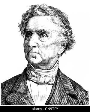 Historical drawing, 19th century, Justus von Liebig, 1803 - 1873, a German chemist and professor - Stock Photo