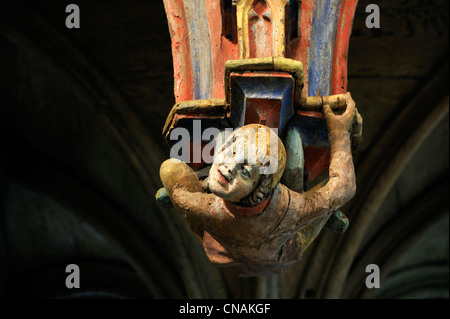 France, Morbihan, stop on the Way of St James, Le Faouet, St Fiacre chapel 15th century, polychromatic wooden jubee, - Stock Photo