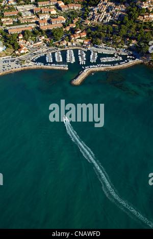 France, Var, Saint Cyr sur Mer, La Madrague harbour (aerial view) - Stock Photo