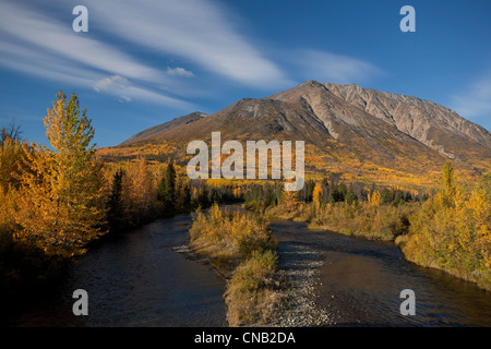 Scenic Autumn view along the Alaska Highway near the Million Dollar Falls campground, Takhani River, Yukon Territory, - Stock Photo