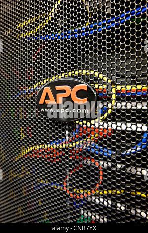 APC logo on server rack - Stock Photo