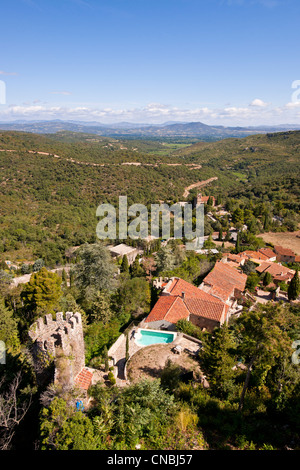 France, Pyrenees Orientales, Castelnou, labelled Les Plus Beaux Villages de France (The Most Beautiful Villages - Stock Photo