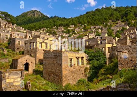 Kayaköy (Kayakoy) or Karmylassos, an abandoned Greek exchange Village of 1923 8km from Fethiye in Turkey - Stock Photo