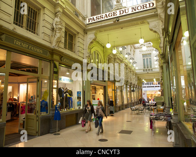 Historic Passage du Nord shopping gallery mall in Brussels, Belgium - Stock Photo