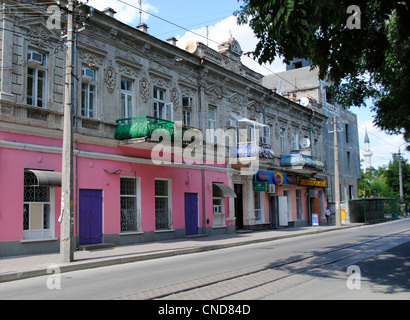Ukraine. Autonomous Republic of Crimea. Yevpatoria. Revolution Street. - Stock Photo