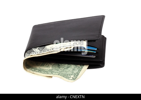 Wallet with dollar banknotes isolated over white with clipping path. - Stock Photo