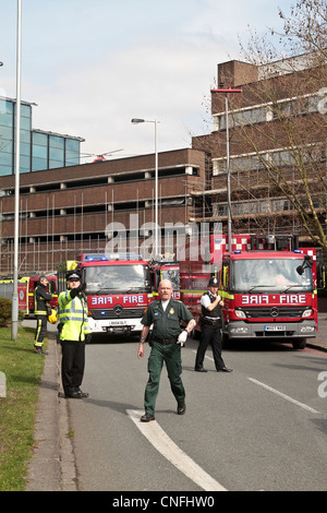 London Fire Brigade and air ambulance attend an incident at Croydon police station south London United Kingdom - Stock Photo