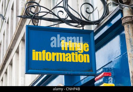 Fringe tourist information sign at the Edinburgh Fringe Festival shop in Edinburgh. - Stock Photo