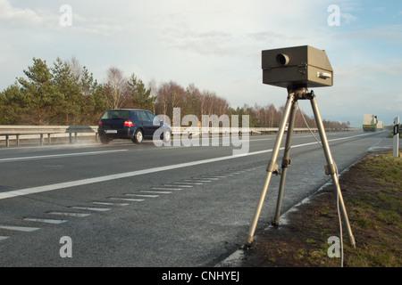 Speed limit enforcement on German motorway - Stock Photo