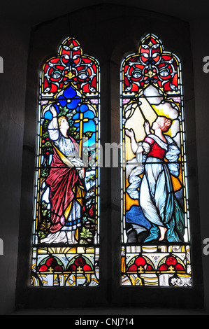 Victorian stained glass windows, St Mary's Church Morte Hoe - Stock Photo