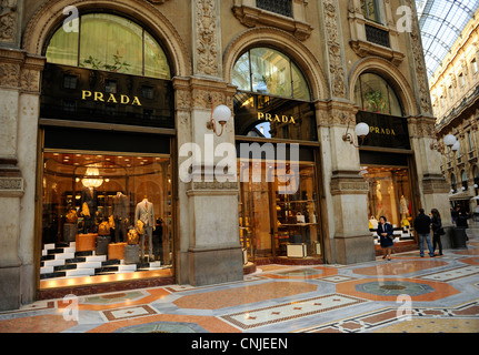 Prada shop. Galleria Vittorio Emanuele II. Milan, Italy - Stock Photo
