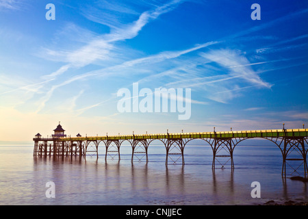 Evening light falls on the Pier at Clevedon, Somerset, England, UK - Stock Photo