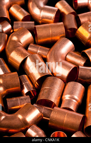 copper metal pipe connectors / fittings - Stock Photo