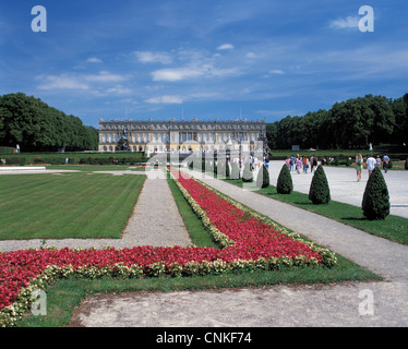 Neues Schloss Herrenchiemsee auf der Herreninsel im Chiemsee in Oberbayern - Stock Photo