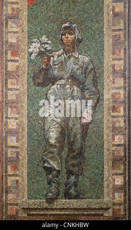 Soviet soldier. Mosaic by Vladimir Sychra in Red Army Hall in the National Monument in Vitkov in Prague, Czech Republic. - Stock Photo