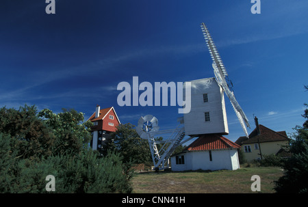 The 'House in the Clouds', converted water tower, and Thorpeness Windmill, disused windpump, Thorpeness, Suffolk, - Stock Photo