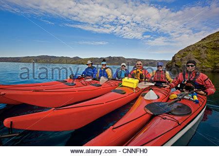 People in kayaks on lake - Stock Photo