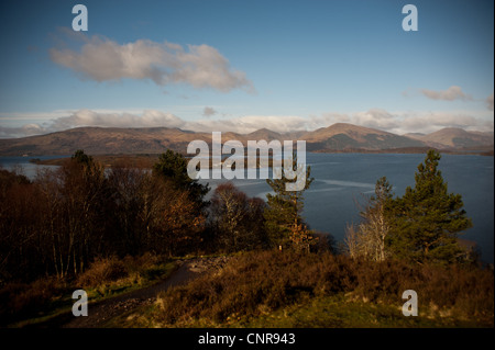 A view of Loch Lomond from the West Highland Way near Balmaha - Stock Photo