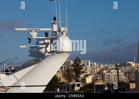 Marine Communication and Navigational Aids on Super Yachts - Stock Photo