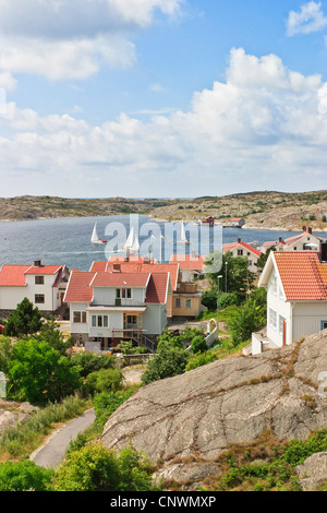 Sailboats in the bay outside Mollosund on the Swedish west coast - Stock Photo