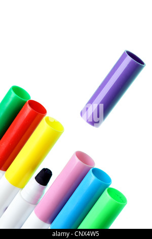 Colorful pens isolated over the white background - Stock Photo