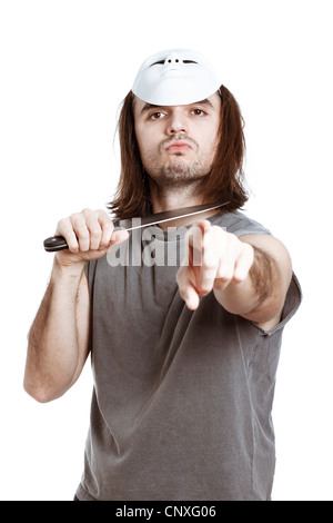 Scary killer horror man holding knife and pointing at you, isolated on white background. - Stock Photo