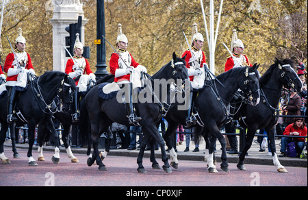 Household cavalry on  The mall, changing of the guard, The Mall, London, England. - Stock Photo