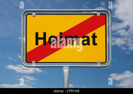 Town sign Germany, End of the town with the German inscription home - Stock Photo
