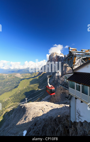 aerial view of Primiero valley and Rolle pass from Rosetta - Pale di San Martino mount, Italy - Stock Photo