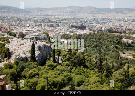The Areopagus hill and the Temple of Hephaestus as viewed from the Acropolis. Athens, Greece. - Stock Photo