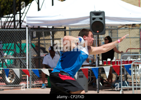 Shot putter competing at the Mt. San Antonio College Relays California - Stock Photo