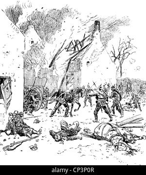 events, Franco-Prussian War 1870 - 1871, Battle of Villejouan, 10.12.1870, the 33rd (Hanseatic) Brigade involved - Stock Photo