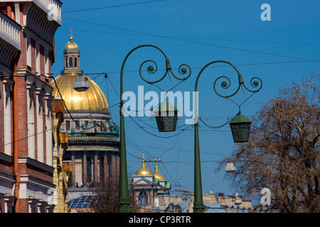 Saint-Petersburg, Saint Isaac's Cathedral, Isaakievskiy Sobor, lamp, streetlight - Stock Photo