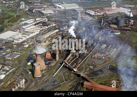 Aerial view of the British Steel Tata steelworks at Scunthorpe - Stock Photo
