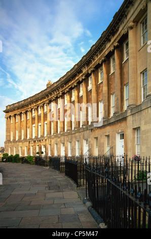 England, Somerset, Bath, Royal Crescent - Stock Photo