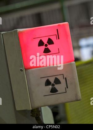 Radioactive radiation hazard warning light in a factory, Groningen, the Netherlands - Stock Photo