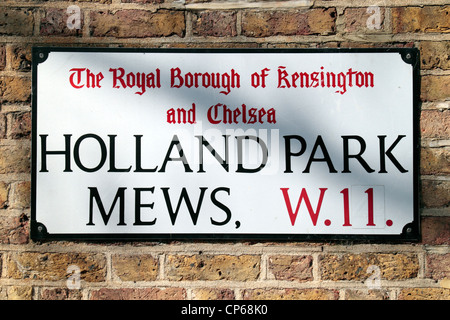 Street sign for Holland Park Mews W11 in the Royal Borough of Kensington and Chelsea, London, UK.  March 2012 - Stock Photo
