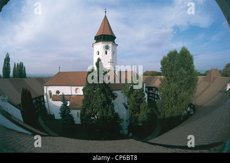 Romania - Prejmer. The fortified church, late Gothic style, the thirteenth century, surrounded by a wall 12 meters - Stock Photo