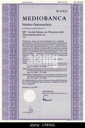 Historic stock certificate, Securities certificate, bearer warrant, Historisches Wertpapier, Inhaber-Optionsschein, - Stock Photo
