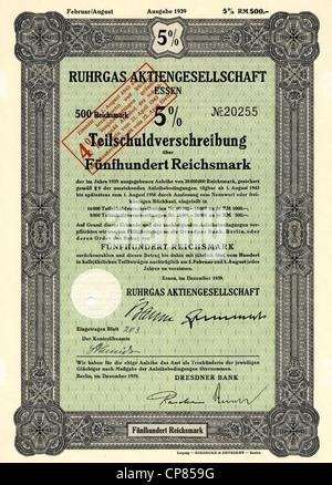 Historic stock certificate, Reichsmarks obligation, Germany, Historisches Wertpapier, Teilschuldverschreibung über - Stock Photo